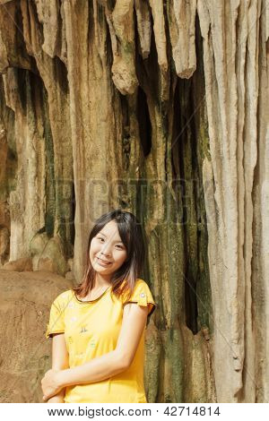 Thai Girl At Luang Pha Wiang Cave In Lamphun
