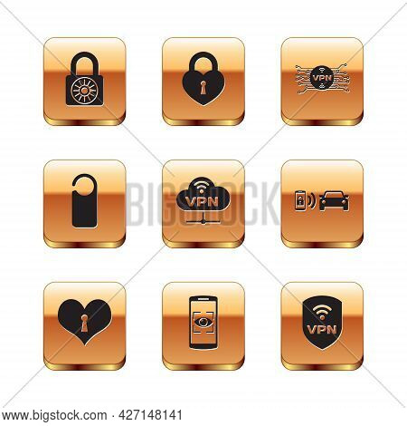 Set Safe Combination Lock Wheel, Heart With Keyhole, Mobile And Eye Scan, Vpn Network Cloud Connecti