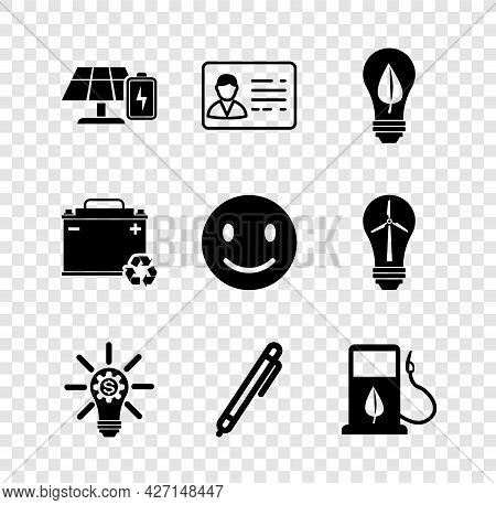 Set Solar Energy Panel And Battery, Identification Badge, Light Bulb With Leaf, Gear, Pen, Bio Fuel