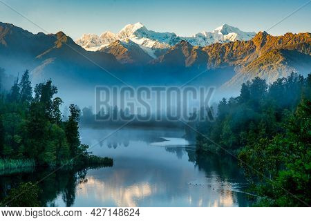 Mist At Dawn  Preventing The Reflections Of The Snow Capped Southern Alps On The Calm Water At Lake
