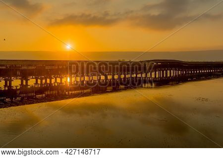 Sunrise View Over The Wetland And The Floating Bridge, In The Hula Nature Reserve, Northern Israel