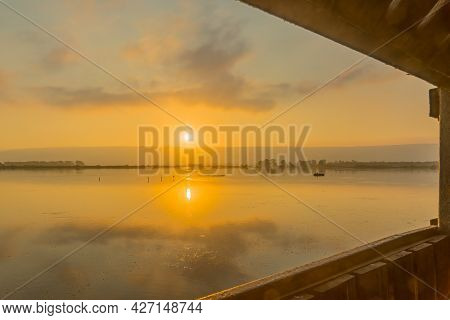 Sunrise View Over The Wetland From The Floating Bridge, In The Hula Nature Reserve, Northern Israel