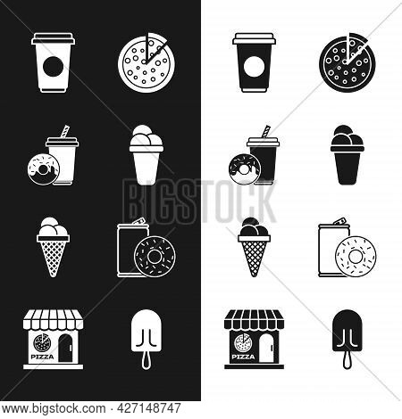 Set Ice Cream, Soda Drink With Donut, Coffee Cup, Pizza, Waffle Cone, Aluminum Can Soda And, And Piz