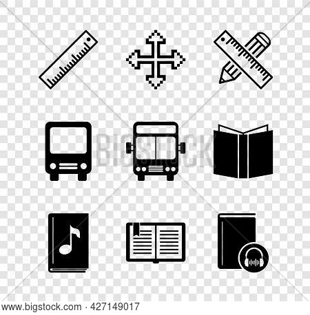 Set Ruler, Pixel Arrows In Four Directions, Crossed Ruler And Pencil, Audio Book, Open, Bus And Icon
