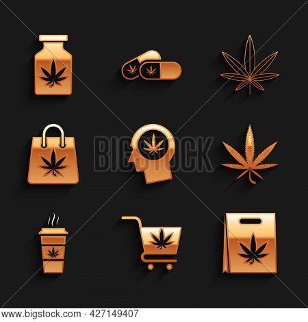 Set Head In Profile With Marijuana, Shopping Cart, Bag, Marijuana Or Cannabis Leaf, Cup Coffee, And