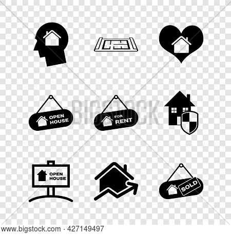 Set Man Dreaming About Buying House, House Plan, With Heart Shape, Hanging Sign Open, Rising Cost Of