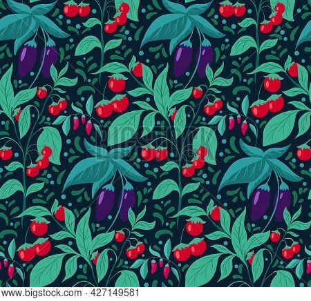 Seamless Pattern With Vegetables, Foliage And Doodle Decoration. Vector Texture With Eggplants, Cher