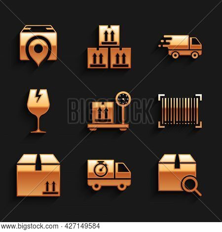 Set Scale With Cardboard Box, Delivery Truck And Stopwatch, Search Package, Barcode, Cardboard Traff