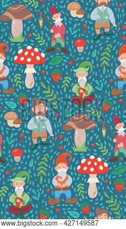 Simple Childish Pattern With Gnomes, Natural And Doodle Decorations. Texture With Leprechauns, Folia