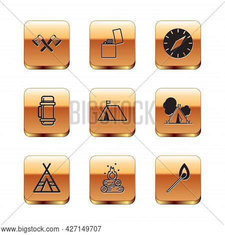 Set Crossed Wooden Axe, Tourist Tent, Campfire, With Flag, Thermos Container, Compass, Burning Match