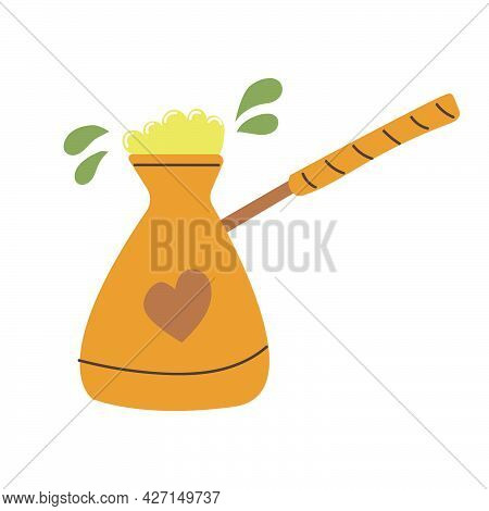 Hand Drawn Turkish Coffee Pot, Cezve, Coffee Maker Concept. Flat Illustration.