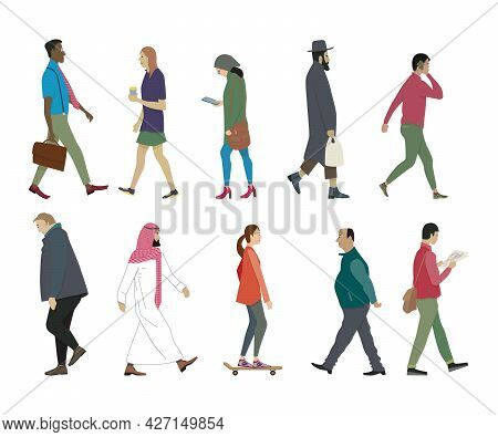 Walking People Set. Men And Women, Multicultural And Multiracial, On Foot And On Skateboard, With Ba
