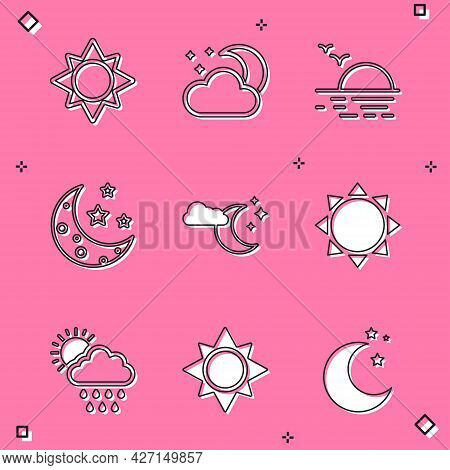 Set Sun, Cloud With Moon And Stars, Sunset, Moon, Rain Sun And Icon. Vector