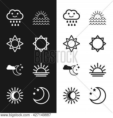 Set Sun, Cloud With Rain, Sunset, Moon And Stars, Moon And Eclipse Of The Sun Icon. Vector