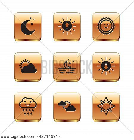 Set Moon And Stars, Cloud With Rain, Sun Cloud Weather, And Sunset Icon. Vector