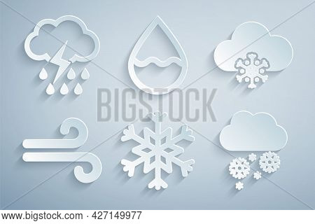 Set Snowflake, Cloud With Snow, Wind, Water Drop And Rain And Lightning Icon. Vector