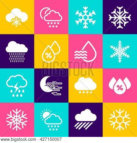 Set Snowflake, Water Drop Percentage, And Cloud With Rain Icon. Vector