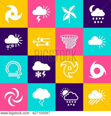 Set Cloudy With Rain And Sun, Tornado, Pinwheel, Wind, Snow, And Icon. Vector