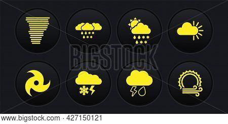 Set Tornado, Cloudy, With Snow And Lightning, Rain, Snow, Rain, Sun, Wind And Icon. Vector