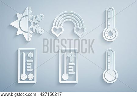 Set Meteorology Thermometer, Rainbow With Heart And Sun And Snowflake Icon. Vector