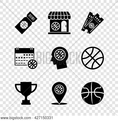 Set Basketball Game Ticket, Sports Shop And Basketball, Award Cup, Location With, Sport Calendar And