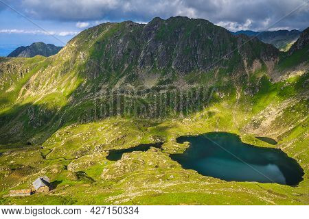 Spectacular Slopes And Valley With Beautiful Glacier Lakes In Fagaras Mountains, Lake Podragu, Carpa