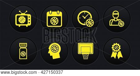 Set Basketball Game Ticket, Player, Thoughts On Basketball, Backboard, Clock With, Sport Calendar, A