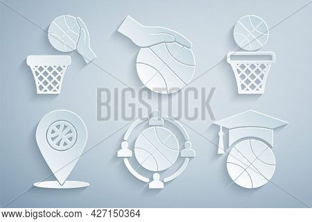 Set Planning Strategy, Basketball Ball And Basket, Location With Basketball, Training, Hand And Icon