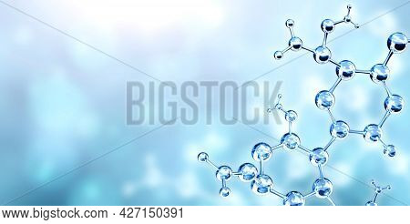 Horizontal banner with models of abstract molecular structure. Isolated on white background. Copy space for your text. 3d render