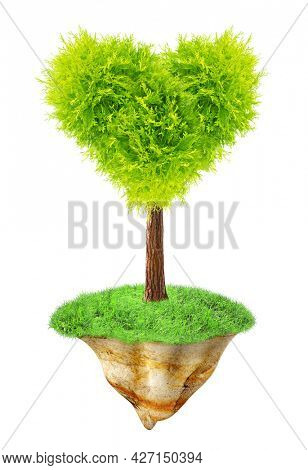 Heart-shaped tree on flying Island. Fantasy floating island with green grass and tree. Paradise, eco and nature concept. Isolated on white background. 3d render