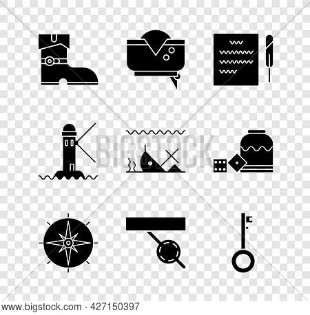 Set Leather Pirate Boots, Pirate Hat, Feather Pen And Scroll, Wind Rose, Eye Patch, Key, Lighthouse
