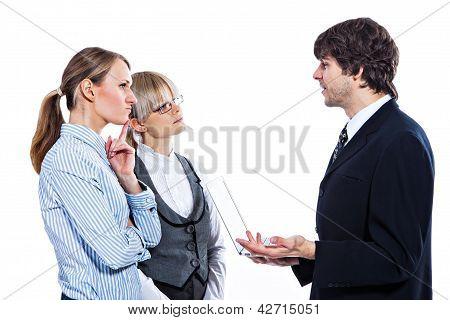 Boss explaining business strategy