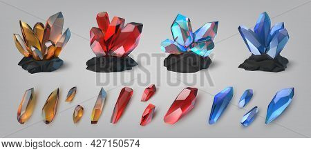 Gemstones. Shiny And Colorful Treasure Precious Stones And Crystals. Glowing Diamond Or Amethyst. Je
