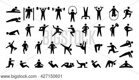 Human Sport Icons. Physical Training. Fitness And Gym Exercises. Yoga Or Aerobic Workout. Isolated S