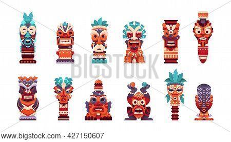 Tiki Totem. Cartoon Hawaiian And African Tribal Statue. Maya And Aztec Scary God Face Collection. Tr