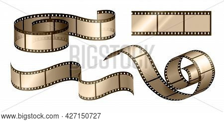 Movie Film Strip. Cinema Filmstrip Roll Frame With Perforation. Retro Negative Photograph Celluloid