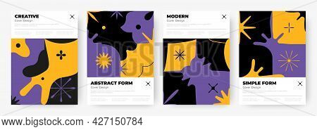 Brutalism Posters. Abstract Geometric Contemporary Banners With Minimalistic Flower Or Star Shapes.