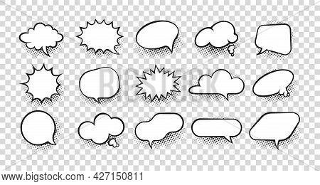 Cartoon Speech Bubble. Comic Retro Dialog Form And Splash Bam Pow Effect. Surprise Or Explosion Symb