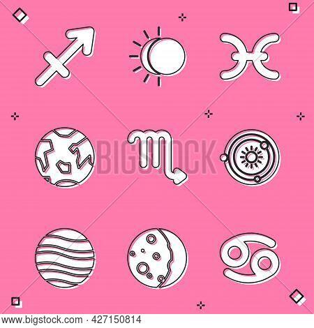 Set Sagittarius Zodiac, Eclipse Of The Sun, Pisces, Planet Earth, Scorpio, Solar System, Jupiter And