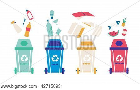 Garbage Recycle. Trash Bin For Different Type Of Waste. Dustbins With Metal And Glass Litter. Paper