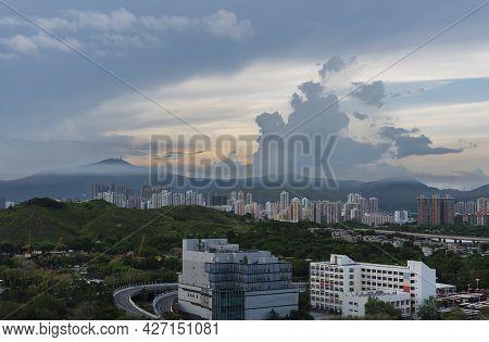 Idyllic Landscape Of Hong Kong City At Dawn