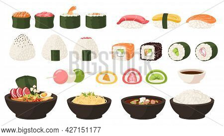 Japanese Food. Asian Cuisine. Cartoon Sushi And Rolls. Oden Soup Or Okonomiyaki. Traditional Sweets.