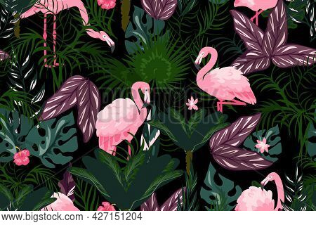 Flamingo Background. Cartoon Wallpaper With Exotic Pink Birds And Tropical Palm Leaves. Jungle Folia