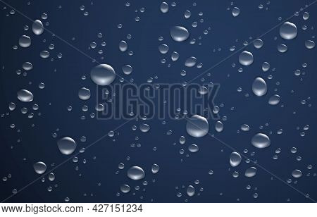 Water Drop Background. Realistic Wet Rainy Window With Round Drips. Sprinkled Dew On Glass Mockup. S