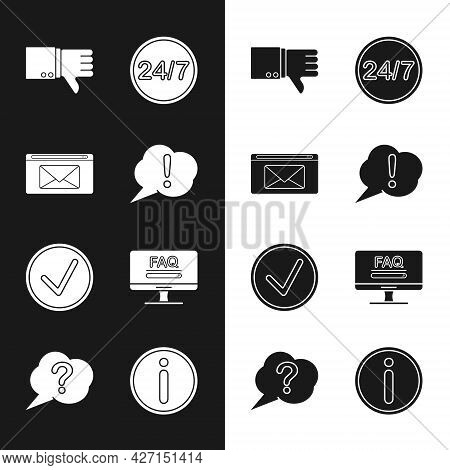 Set Speech Bubble Exclamation, Mail And E-mail, Dislike, Clock 24 Hours, Check Mark In Circle, Monit