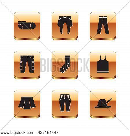 Set Sport Socks, Skirt, Pants, Socks, Cargo Pants, Oktoberfest Hat And Icon. Vector