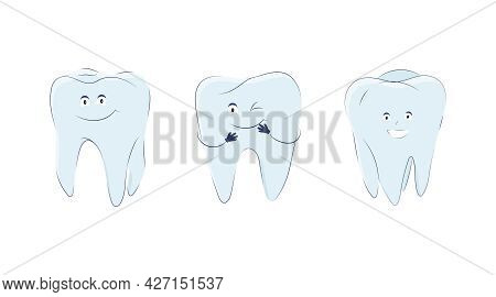 Set Of Molars In A Cute Cartoon Style. Vector Illustration Of Teeth Icons With Handles, Eyes And Mou