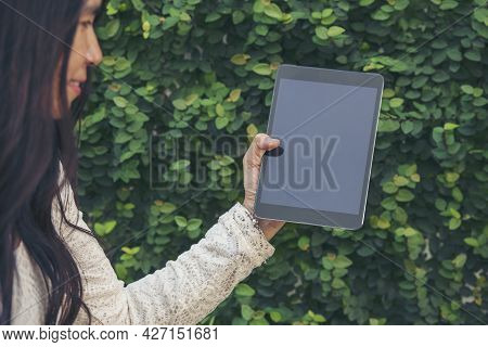 Asian Woman Using Digital Tablet Shopping Online, Call, Texting Message Internet Technology Lifestyl