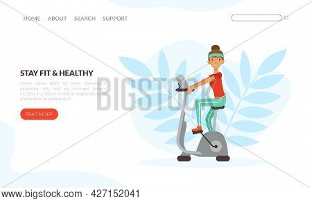 Landing Page With Young Woman Character With Headband And Sportswear On Cycle Ergometer Vector Templ