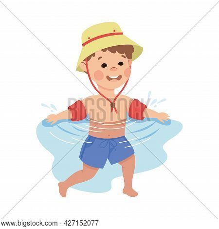 Little Boy In Hat Swimming With Inflatable Armband Vector Illustration